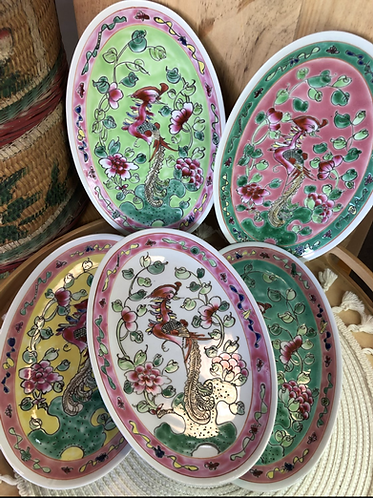 Peranakan oval plate (5 colours)