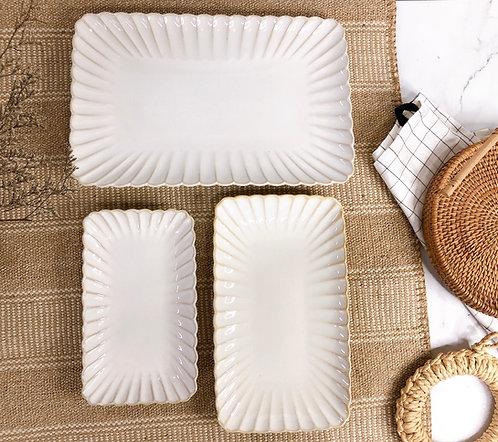 Scallop x white | Rectangle Plate (3 sizes)