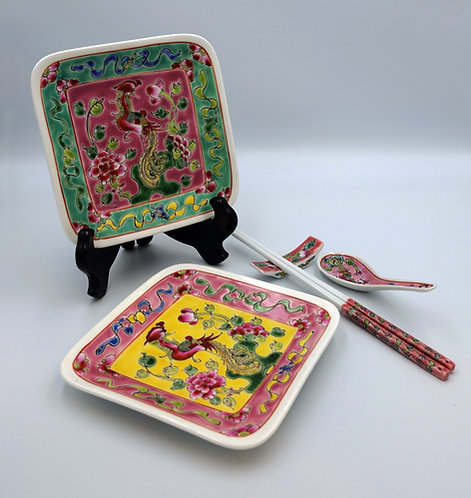 Peranakan square rounded plate