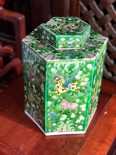 Handpainted green  hex. temple jar