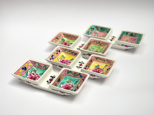 Peranakan 2 in 1 square saucer with chopstick rest