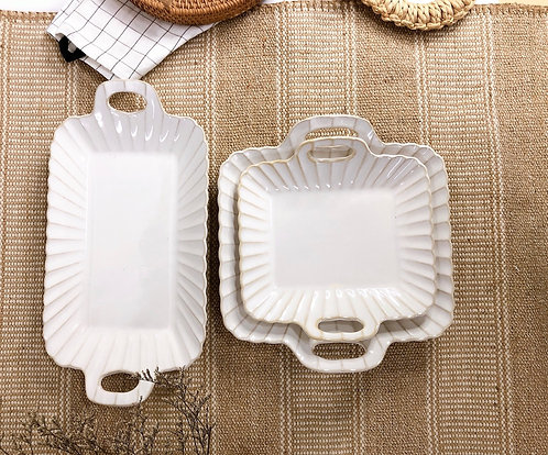 Scallop x white | Rectangle tray with 2 handle (3 sizes)