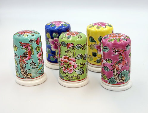 Peranakan round toothpick holder