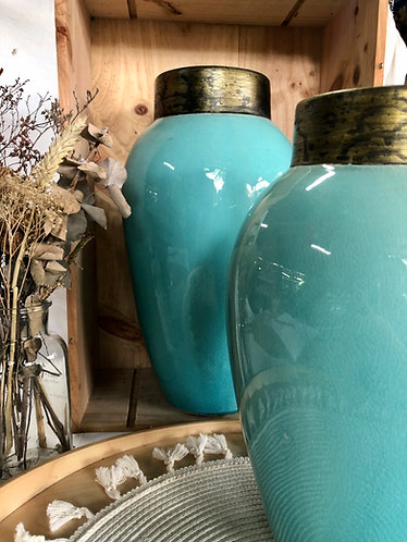Turquoise x Gold rim vase (2 sizes)