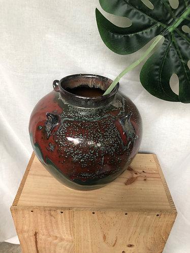 Green and red glazed round vase (4 designs)