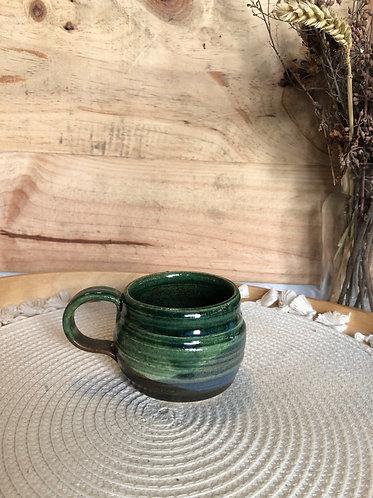 Dark green overlapping glaze cup