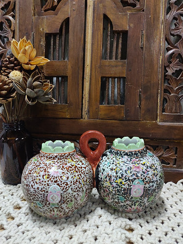 Paired up Antique Vase - Dark Maroon/Black