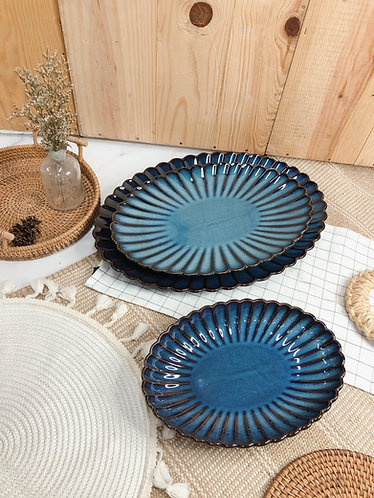 Scallop x blue | Oval Plate (3 sizes)