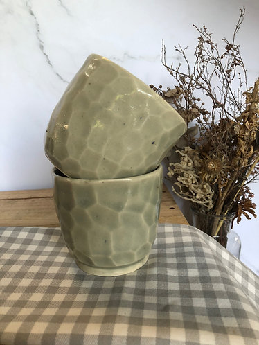 Faceted jade cup