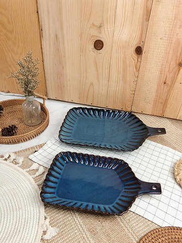 Scallop x blue | Tray with handle (2 sizes)