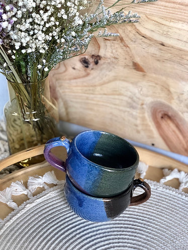 Ash green / blue cappuccino cup with handle (1 styles)