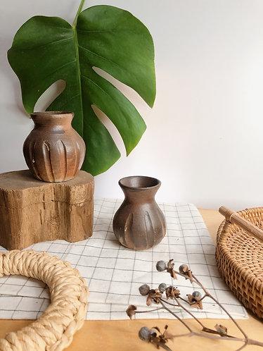 Dragon kiln fired x carved mini vase
