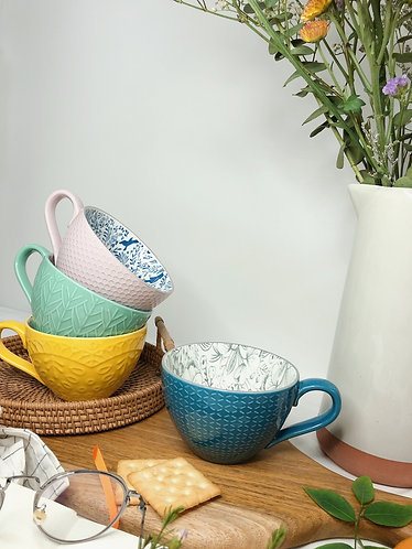 Texture cups with print (4 colours)