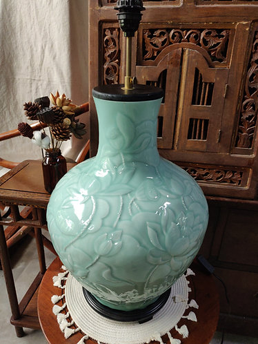Jade Green  Lotus Vase Lamp