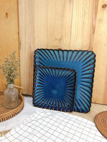 Scallop x blue | Square Plate (2 sizes)