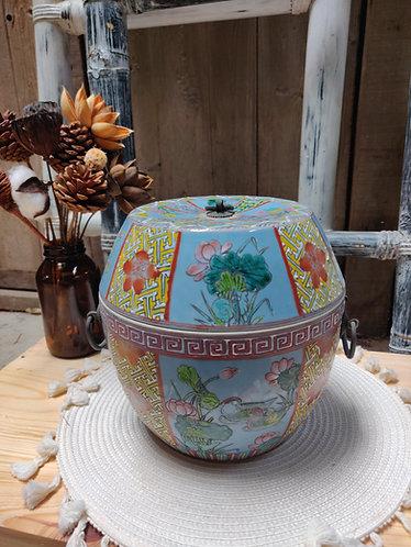 Lotus Oriental Jar with Lid