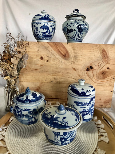Blue and white x inspired antique container with lid