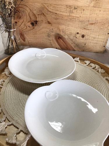 White shallow peach bowl (2 sizes)