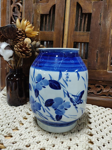 Blue White Floral Wide Vase