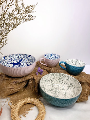 Textured bowl with prints (2 designs)