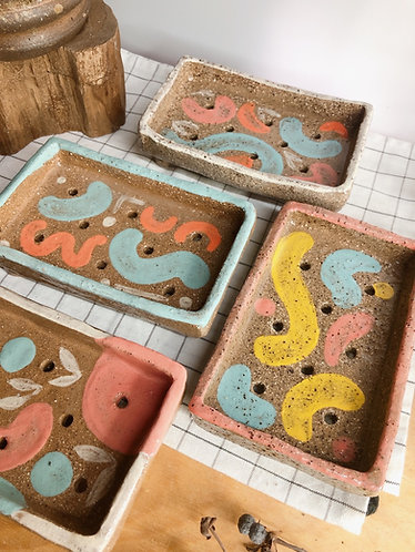 Hand painted x textured Soap dish (4 designs)