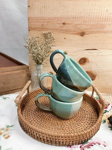 161ml - 169ml | greenery cup with bean ( 3 designs)