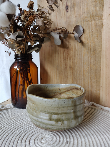 Speckled Bowl w Olive accent