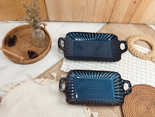 Scallop x blue | Rectangle tray with 2 handle (2 sizes)