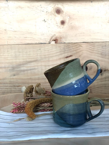 Handmade cup with overlapped glazes