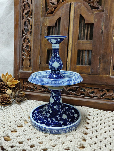 Blue White Candle/Accessories Holder