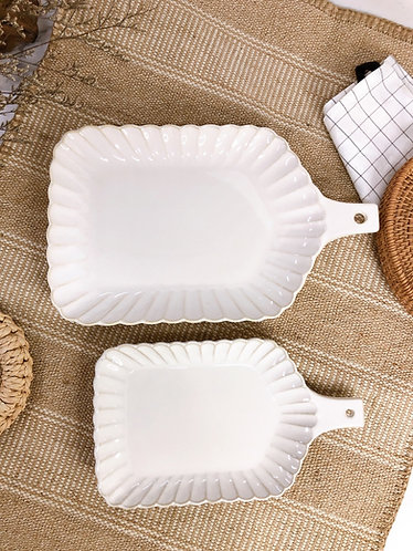 Scallop x white | Tray with handle (2 sizes)