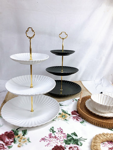 Scallop | Matt 3-tiers dessert stand ( 2 colours)