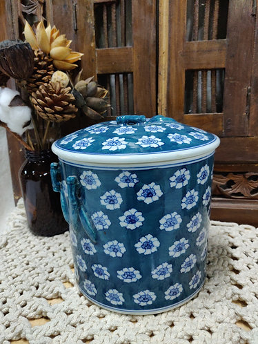 Teal Floral Jar with Cover