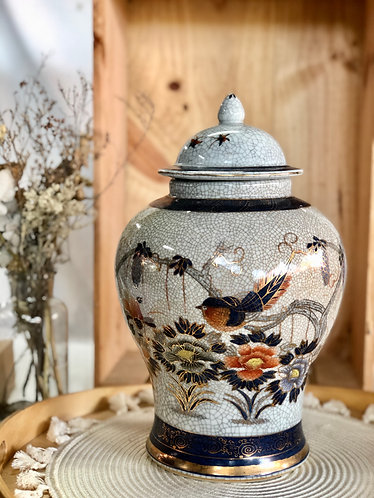 Crackled x black floral vase (3 designs)