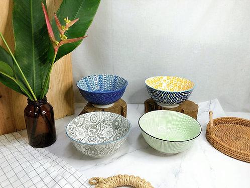 Coloured printed x M bowl