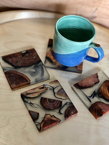 Wood x rubber x ink cup coaster