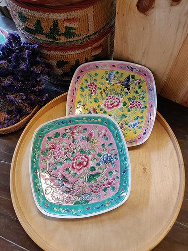 Peranakan Large Square Plate - Full Peony Series