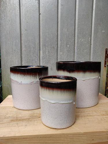 Pink Base Brown Drip Glazed Pot (3 Sizes)