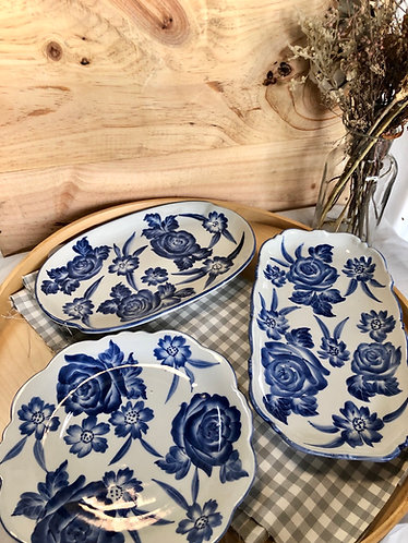 B/W floral Plate (3 designs)