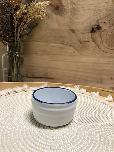 White bowl with blue rim