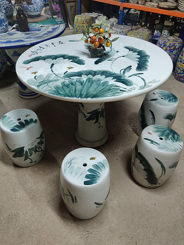 Ceramic Table and Stools Set
