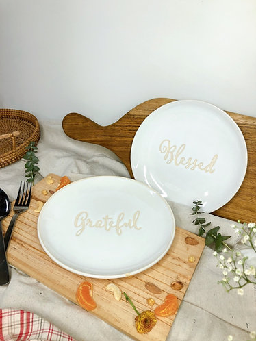 Blessed / grateful plate (2 words)