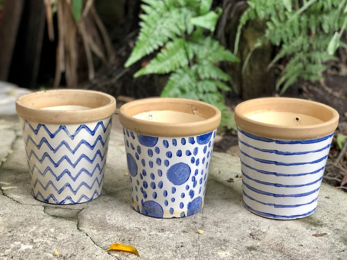 Blue and white prints pot ( 5 sizes x 3 prints)