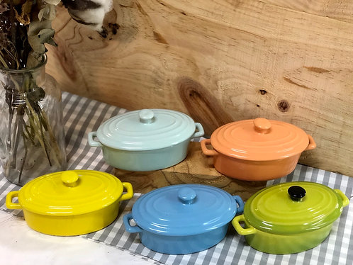 Oval container with lid (5 colours)