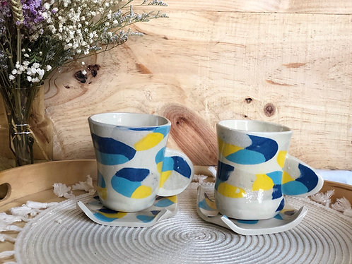 Hand built cup with saucer (2 styles)