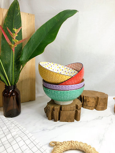 Textured x coloured print bowls (4 designs)