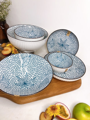 Blue and white 6 pieces set (4 designs)