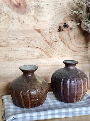 Dragon kiln fired x carved vase