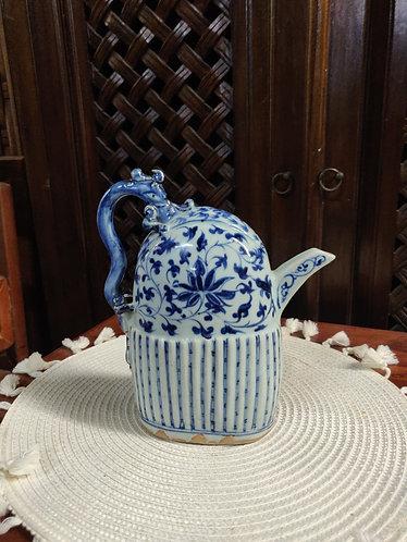 Blue/White Flat Teapot