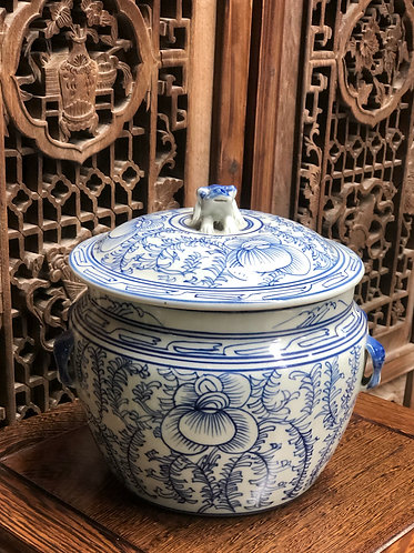 Blue and white container with lid